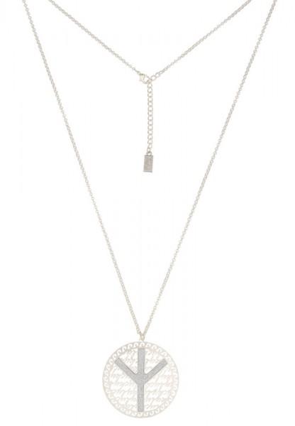 Lange Halskette Glitzer Peace silber