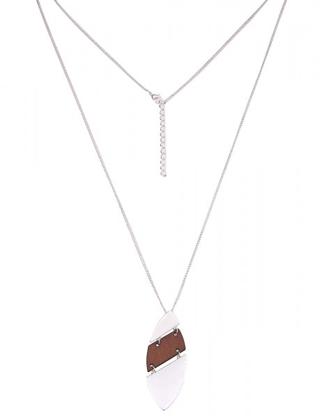 Leslii Damenkette Naturfreunde aus Metalllegierung mit Holz Länge 83cm in Braun Silber