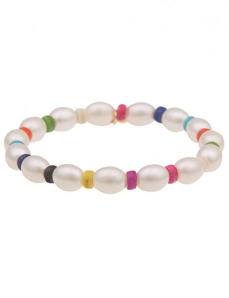 Leslii Damen-Armband Anna weißes Perlen-Armband Filigran Stein Kunststoff-Perlen buntes Modeschmuck-
