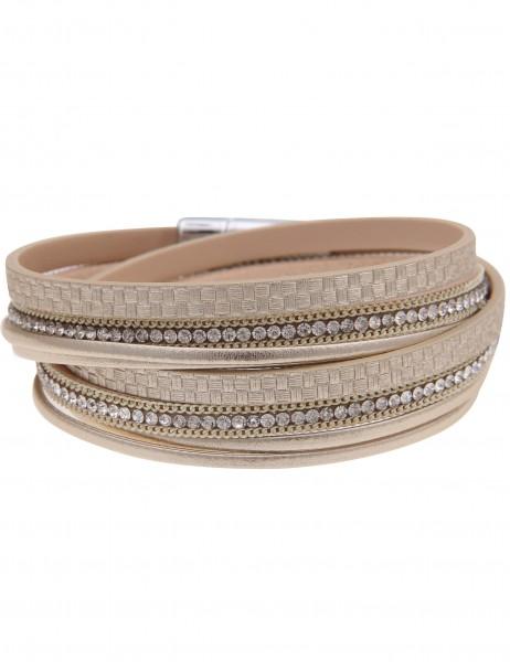Leslii Damen-Armband Wickelarmband Glitzer Muster Metallic Gold Strass Lederimitat 39cm mit Magnetve