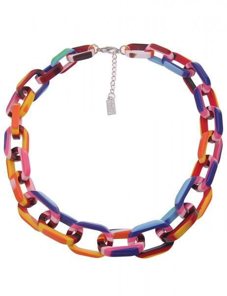 Leslii Damenkette Statement Stripes Oval aus Kunststoff Länge 50cm in Multi Bunt