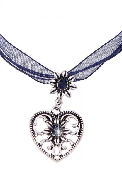 Kurze Halskette Band Tracht Herz Blau
