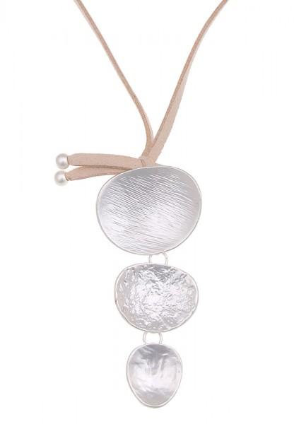 Leslii Damen-Kette Dreifach Beige Silber Metalllegierung Lederimitat 85cm 220114059