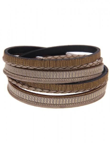 LAST CHANCE Leslii Wickel-Armband Stripes Braun | Damen-Armband Mode-Schmuck | Länge: 39,5cm