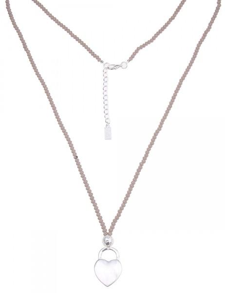 Leslii Damen-Kette Glasperlen Herz Silber Grau Metalllegierung 86cm + Verlängerung 220115826