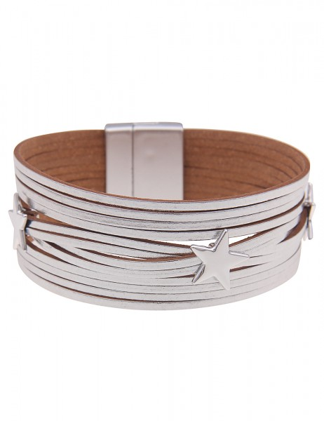 Leslii Damen-Armband Glanz Stern-Armband Stars Statement veganes Leder-Armband silbernes Modeschmuck