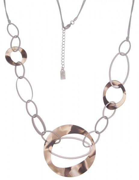 Leslii Damen-Kette XXL Statement-Kette Horn-Look Stoff-Kette lange Halskette graue Modeschmuck-Kette