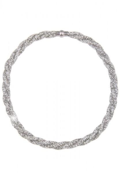 LAST CHANCE! Leslii Kurze Halskette Netz Geflecht in Silber