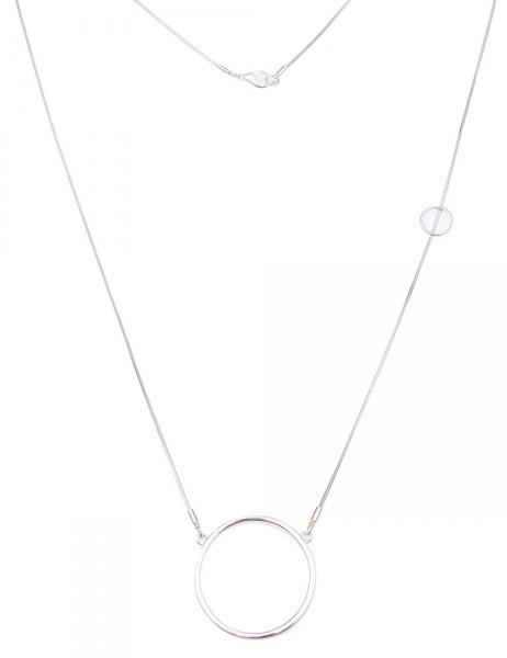 Leslii Damen-Kette Glanz-Ringe Silber Metalllegierung 80cm + Verlängerung 220115916