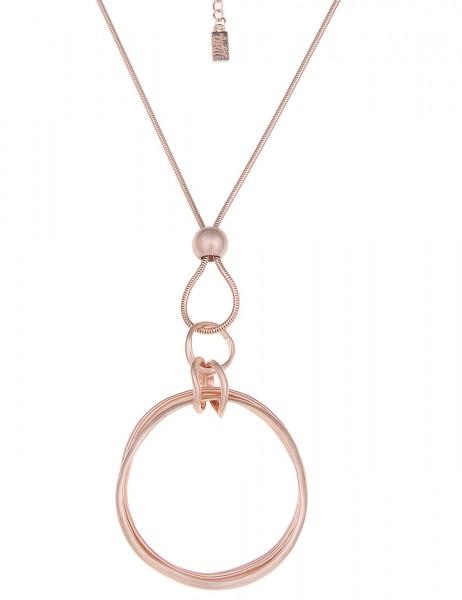 -70% SALE Leslii Halskette 3er Ringe Rosé | lange Damen-Kette Mode-Schmuck | 84cm + Verlängerung