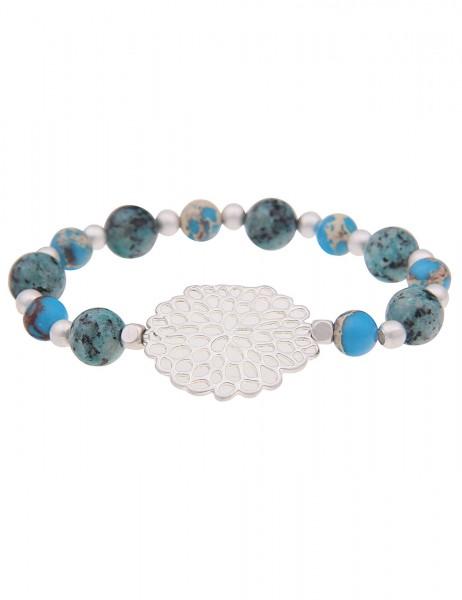 Leslii Damenarmband Steinkugeln Natur-Stein Steinschmuck blaues Modeschmuck-Armband Länge 19cm in Bl