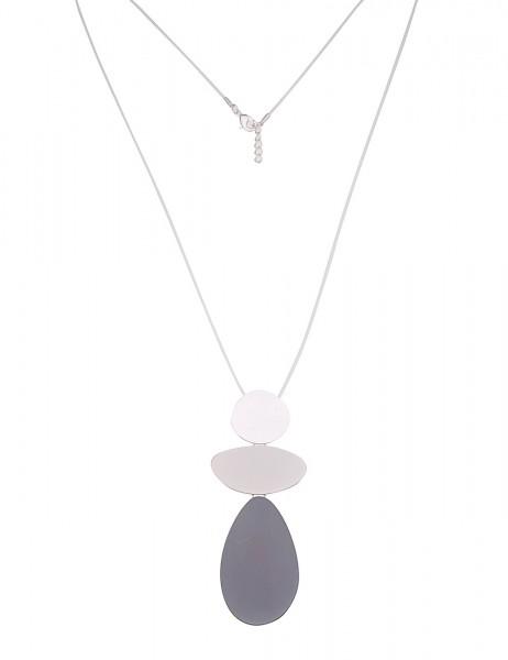 Leslii Damenkette Formen Spiel aus Textil mit Metalllegierung Länge 85cm in Silber Weiß Grau