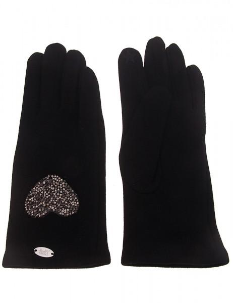 Leslii Damen-Handschuhe Fashion Strass-Herz Herz-Handschuhe schwarze Winter-Handschuhe Teddy-Fleece