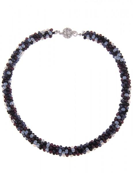 Leslii Halskette Kristallkorn Schwarz Bunt | kurze Damen-Kette Mode-Schmuck | 45cm