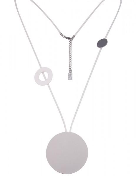 Leslii Damenkette Ring Spiel aus Textil mit Metalllegierung Länge 85cm in Silber Weiß