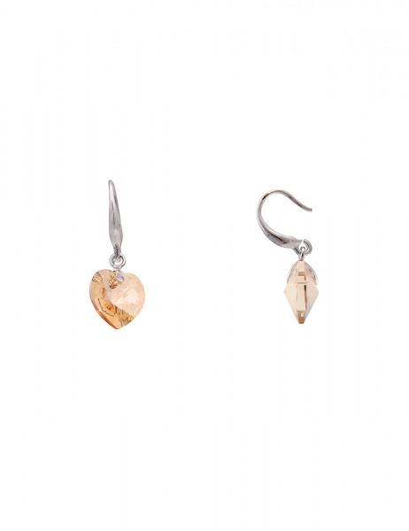 Leslii Damen-Ohrringe Ohrhänger Funkel Herz Silber Braun Metalllegierung Glasstein 2,7cm 230416604