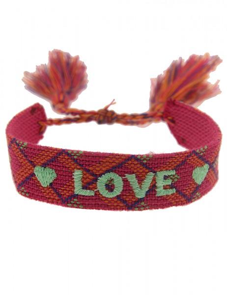 Leslii Damen-Armband Festival Herz Love-Schriftzug Pink Orange