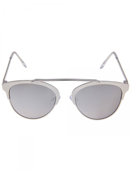 -50% SALE Leslii Sonnenbrille Damen Piloten-Brille Designer-Brille Sunglasses in Silber Metall