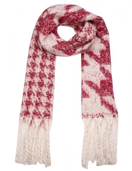 -50% SALE Leslii Damen XXL-Schal Hahnentritt-Muster 100% Polyester 195cm x 46cm Rot Beige 900217161