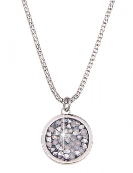 Leslii Damen-Kette Twinkle Silber Opal-Weiß Metalllegierung Strass 91cm + Verlängerung 220213617
