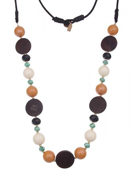 Leslii Damenkette Holz Scheiben Halskette Holzkette Modeschmuck aus Stoff mit Glasperlen Länge 100cm