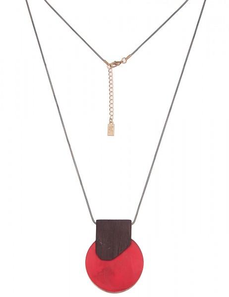 Leslii Damenkette Modern Style aus Metalllegierung mit Holz Länge 85cm in Rot Bordeaux Braun