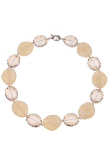 Leslii Damenkette Glas Ovale Statementkette Glas-Kette Halskette kurze Modeschmuck-Kette Länge 47cm