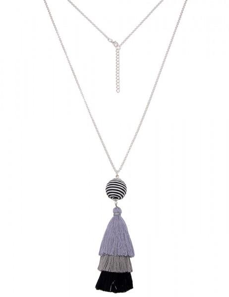 -50% SALE Leslii Damen-Kette Bommel-Kugel Silber Grau Textil Metalllegierung 83cm + Verlängerung 22