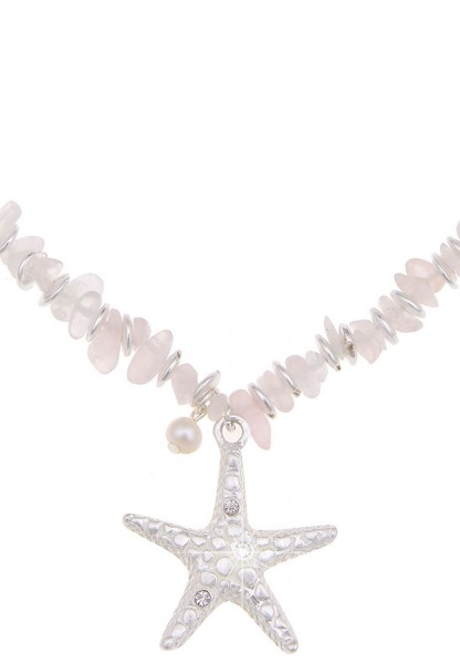 -70% SALE Leslii Halskette Glitzer Seestern Silber Weiß | kurze Damen-Kette Mode-Schmuck | 45cm + Ve