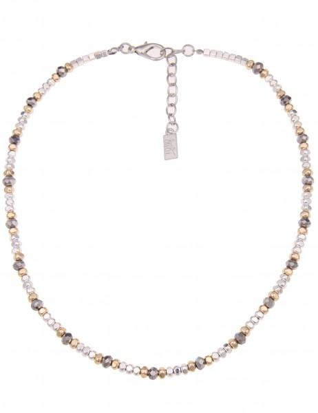 Leslii Damen-Kette Tricolor Silber Gold Grau Metalllegierung Glasperlen 45cm + Verlängerung 21011633