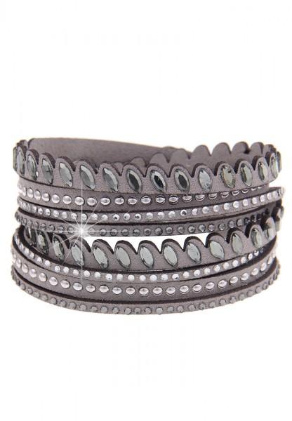 Leslii Wickel-Armband Glitzer Nieten Grau | modisches Damen-Armband Mode-Schmuck | Länge: 41cm