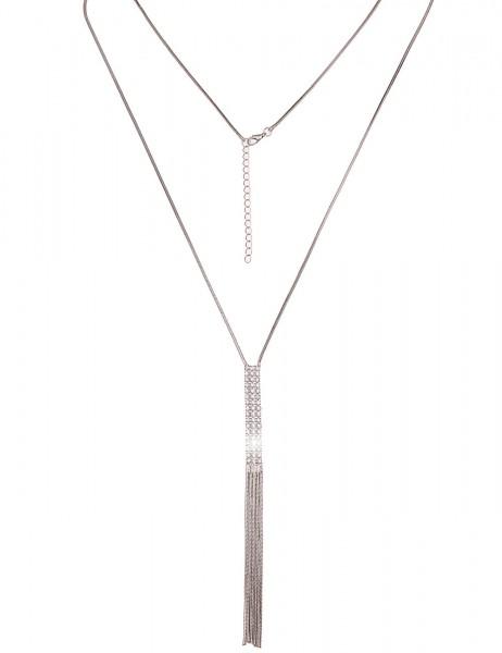 Leslii Damen-Kette Glitzer Netz Silber Weiß Metalllegierung Strass 80cm + Verlängerung 220116861