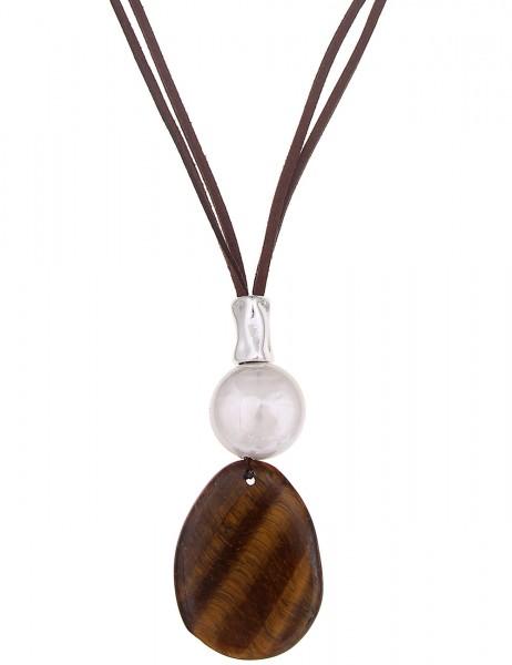 -50% SALE Leslii Halskette Naturstein Braun Weiß | lange Damen-Kette Mode-Schmuck | 85cm + Verlänger