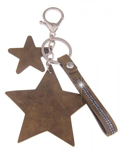 -70% SALE Leslii Schlüssel-Anhänger 2er Stern Khaki-Grün | Damen-Accessoires Mode-Schmuck | Größe: 1
