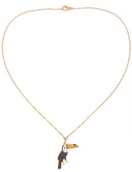 -50% SALE Leslii 4teen Damenkette Tukan aus Metalllegierung Länge 39cm in Gold Bunt