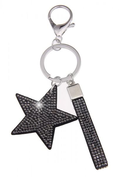 Leslii Schlüssel-Anhänger Glitzer Stern Grau | Trendiger Taschen-Anhänger Mode-Schmuck | Länge: 14cm