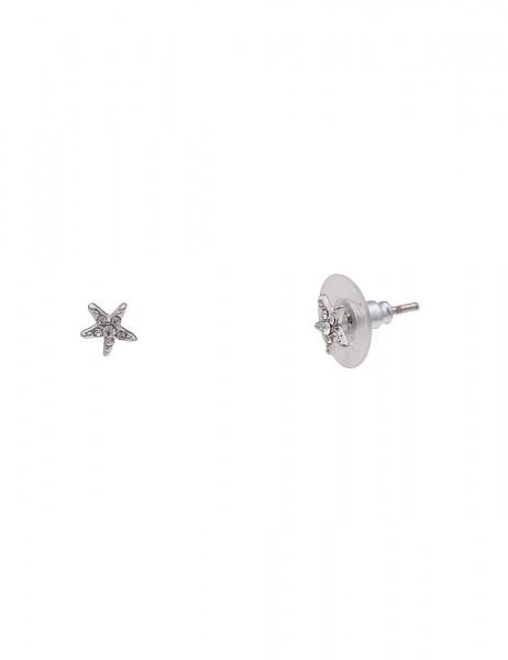 Leslii Damenohrringe Ohrstecker Seestern aus Metalllegierung mit Strass Länge 0.8cm in Silber Weiß