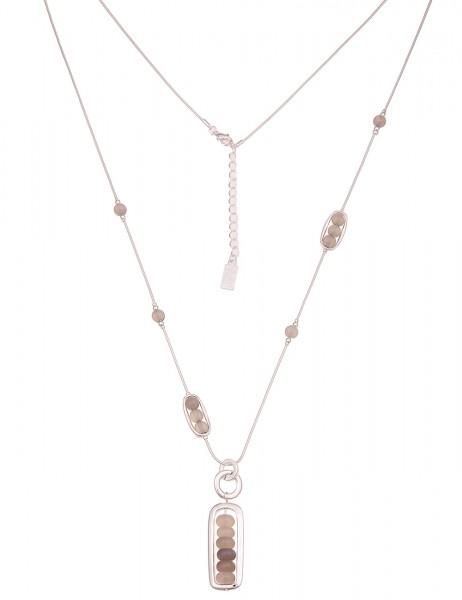 Leslii Damenkette Natur-Stein echte Stein-Kette Schlangen-Kette lange Halskette graue Modeschmuck-Ke