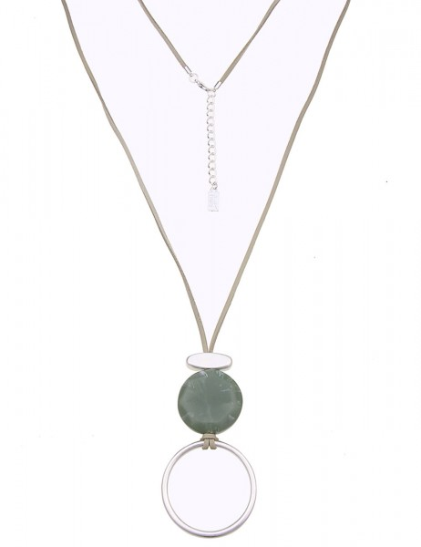Leslii Damen-Kette Stein-Look Silber Grün Lederimitat Metalllegierung 90cm + Verlängerung 220116003