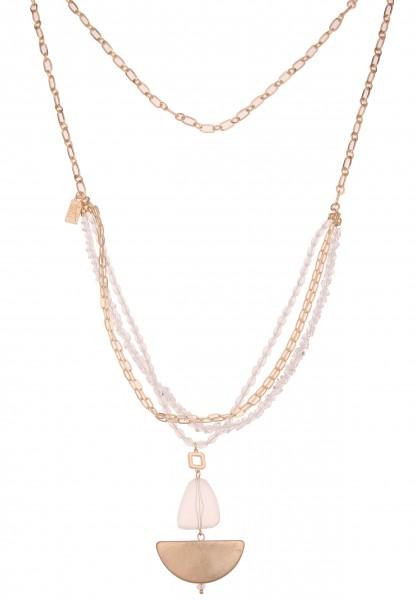 Leslii Damenkette Layering Carmen Statement-Kette weiße Glas-Kette lange Halskette goldene Modeschmu
