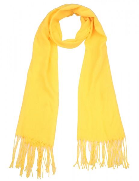 Leslii Damen-Schal Uni-Schal einfarbig leichter Sommer-Schal gelber Schal Statement-Schal Fransen-Sc