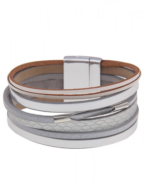 Leslii Damenarmband Glanz Look aus Lederimitat mit Metalllegierung Länge 19cm in Silber Grau