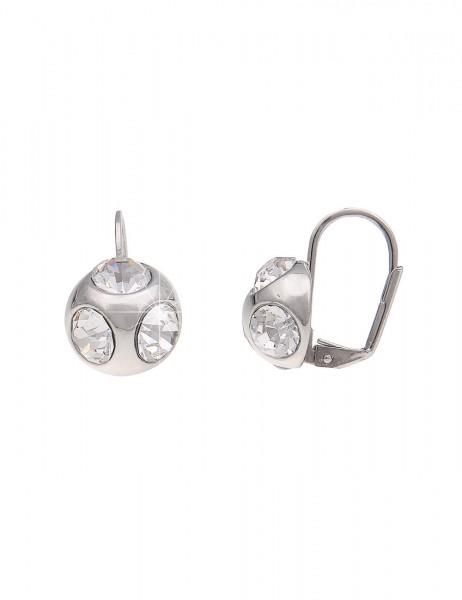-70% SALE Leslii Damen-Ohrringe Ohrhänger Glitzer Kugel Silber Metalllegierung Glassteine 2cm 230214