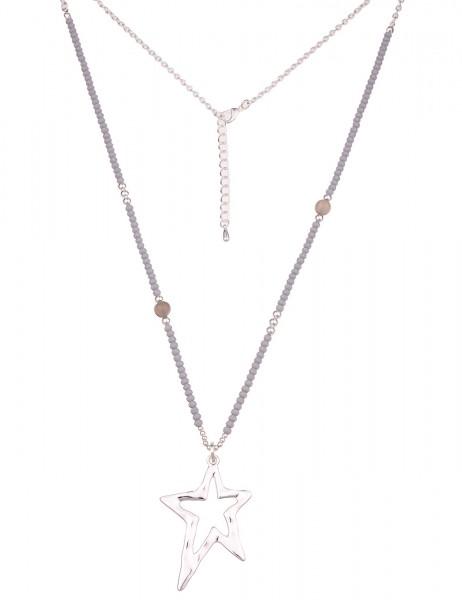 Leslii Damen-Kette Glasperlen Stern Silber Grau Metalllegierung Naturstein 83cm + Verlängerung 22011