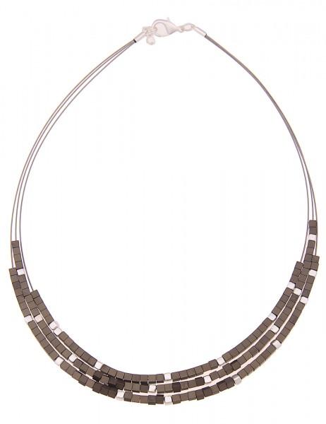 -50% SALE Leslii Damen-Kette Premium Würfel Reif Metalllegierung 45cm + Verlängerung Silber Grau 210
