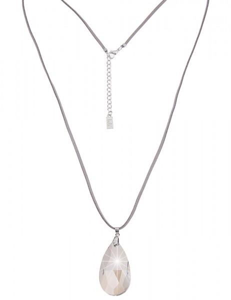 Leslii Damen-Kette Statement Glas-Tropfen Grau Lederimitat Metalllegierung 82cm + Verlängerung 22011