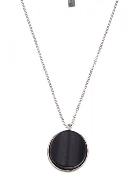 -70% SALE Leslii Halskette Round Schwarz Silber | lange Damen-Kette Mode-Schmuck | 84cm + Verlängeru