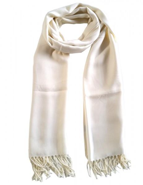 -50% SALE Leslii Damen-Schal Classic Uni Creme Weiß Polyester & Viskose 186cm x 79cm 902517400