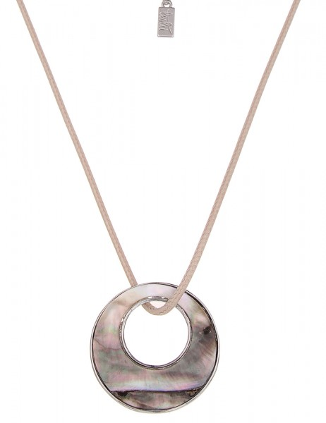 Leslii Halskette Perlmutt-Ring Silber Beige | lange Damen-Kette Mode-Schmuck | 85cm + Verlängerung