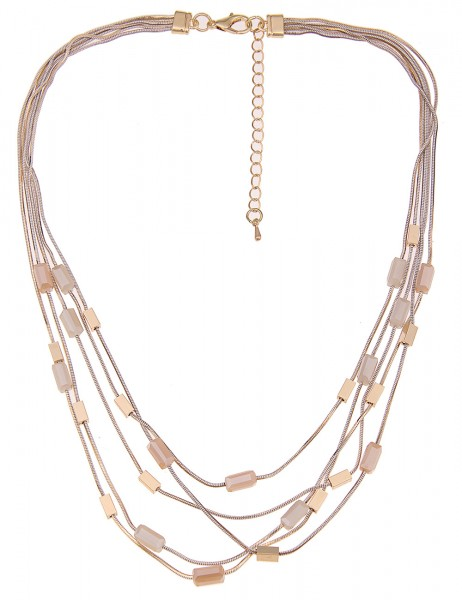 Leslii Damenkette Glassteine aus Metalllegierung Hochglanz Länge 45cm in Gold Beige